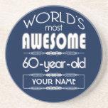 60th Birthday Worlds Best Fabulous Dark Blue Drink Coasters