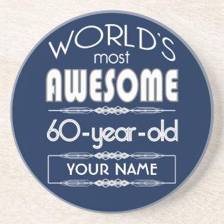 60th Birthday Worlds Best Fabulous Dark Blue Drink Coaster