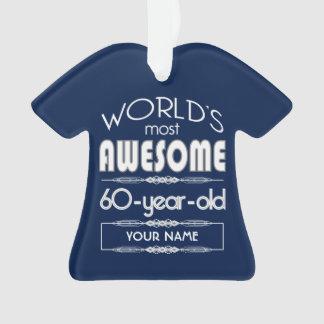 60th Birthday Worlds Best Fabulous Dark Blue Ornament