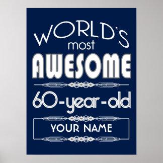 60th Birthday Worlds Best Fabulous Dark Blue Poster