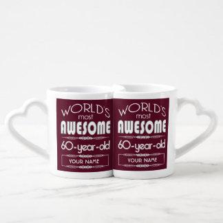 60th Birthday Worlds Best Fabulous Dark Red Coffee Mug Set