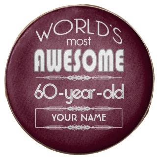 60th Birthday Worlds Best Fabulous Dark Red Maroon Chocolate Dipped Oreo