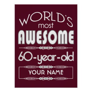 60th Birthday Worlds Best Fabulous Dark Red Poster