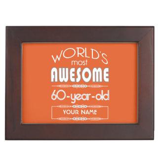 60th Birthday Worlds Best Fabulous Flame Orange Memory Box