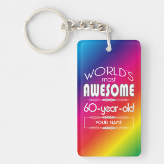 60th Birthday Worlds Best Fabulous Rainbow Keychain