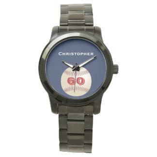 60th Birthday Wrist Watch, Personalized, Baseball Watch