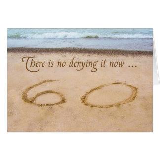 60th Birthday Writing in Sand Seashore Greeting Card