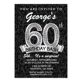 60th Diamond Birthday Invitation Milestone