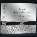 """60th Diamond Wedding Anniversary 2&quot; Binder<br><div class=""""desc"""">A Digitalbcon Images Design featuring a platinum silver and black color and flourish design theme with a variety of custom images, shapes, patterns, styles and fonts in this one-of-a-kind &quot;60th Diamond Wedding Anniversary&quot; 2&quot; Binder. This elegant and attractive design comes complete with customizable text lettering and design elements to suit...</div>"""