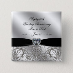 60th Diamond Wedding Anniversary Button at Zazzle