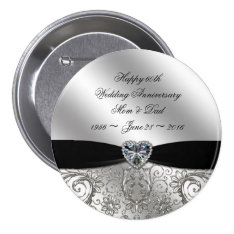 60th Diamond Wedding Anniversary Button at Zazzle