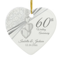 60th Diamond Wedding Anniversary Ceramic Ornament