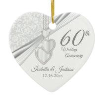 60th Diamond Wedding Anniversary Ceramic Ornament