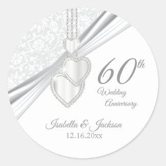 60th Diamond Wedding Anniversary Classic Round Sticker