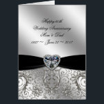 """60th Diamond Wedding Anniversary Greeting Card<br><div class=""""desc"""">A Digitalbcon Images Design featuring a platinum silver and black color and flourish design theme with a variety of custom images, shapes, patterns, styles and fonts in this one-of-a-kind &quot;60th Diamond Wedding Anniversary&quot; Greeting Card. This elegant and attractive design comes complete with customizable text lettering to suit your own special...</div>"""
