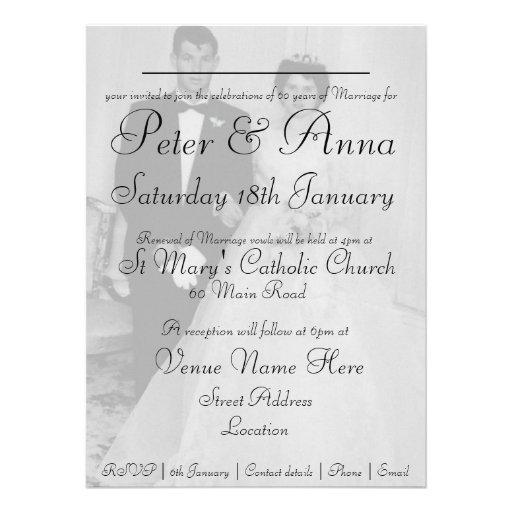 60th Diamond Wedding Anniversary Invitation (back side)
