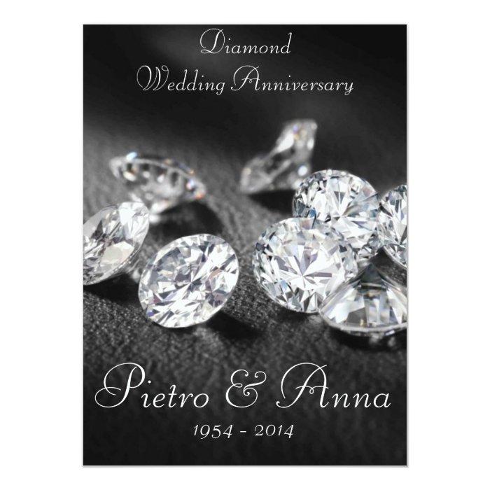 Diamond Wedding Invitation Label: 60th Diamond Wedding Anniversary Invitation