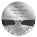 60th Diamond Wedding Anniversary Melamine Plate