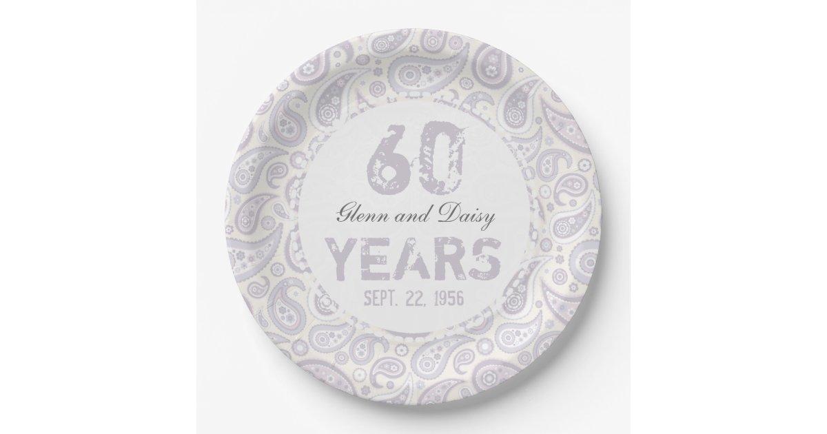 60th Diamond Wedding Anniversary Paisley Pattern Paper Plate Zazzle