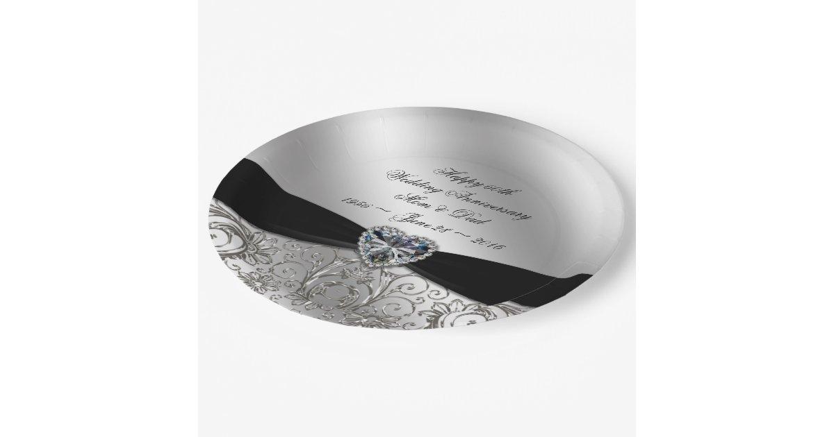 60th Diamond Wedding Anniversary Paper Plate Zazzle