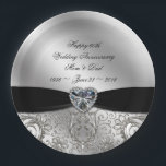 "60th Diamond Wedding Anniversary Paper Plate<br><div class=""desc"">A Digitalbcon Images Design featuring a platinum silver and black color and flourish design theme with a variety of custom images, shapes, patterns, styles and fonts in this one-of-a-kind &quot;60th Diamond Wedding Anniversary&quot; Paper Plate. This elegant and attractive design comes complete with customizable text lettering to suit your own special...</div>"