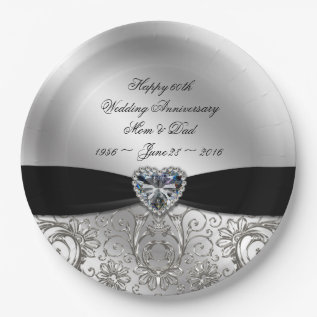 60th Diamond Wedding Anniversary Paper Plate at Zazzle