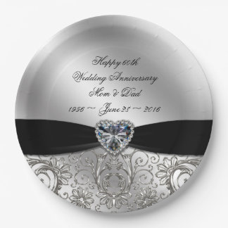 60th Diamond Wedding Anniversary Paper Plate