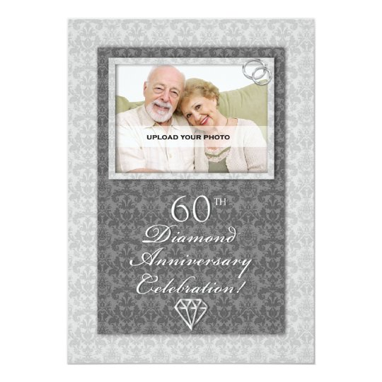 Th diamond wedding anniversary party invitations zazzle