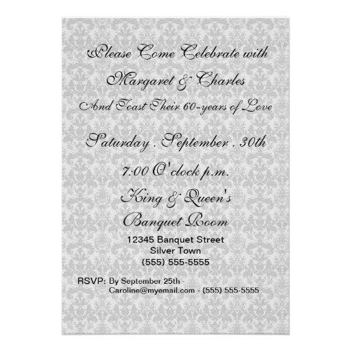 60th Diamond Wedding Anniversary Photo Invitations (back side)