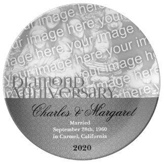 60th Diamond Wedding Anniversary Photo Porcelain Plate