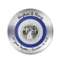 60th Diamond Wedding Anniversary Photo Modern Blue Dinner Plate