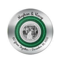 60th Diamond Wedding Anniversary Photo Modern Dinner Plate