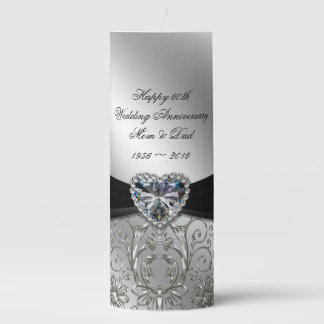 60th Diamond Wedding Anniversary Pillar Candle