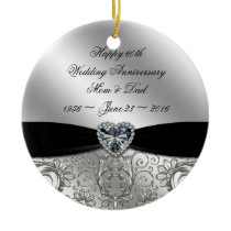 60th Diamond Wedding Anniversary Round Ornament