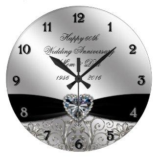 60th Diamond Wedding Anniversary Round Wall Clock