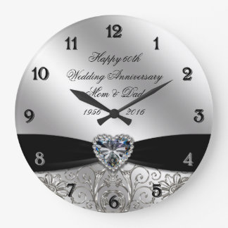 60th Diamond Wedding Anniversary Round Wall Clock