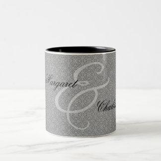 60th Diamond Wedding Anniversary Silver Damask Two-Tone Coffee Mug