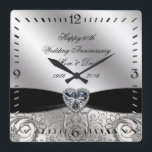 "60th Diamond Wedding Anniversary Square Wall Clock<br><div class=""desc"">A Digitalbcon Images Design featuring a platinum silver and black color and flourish design theme with a variety of custom images, shapes, patterns, styles and fonts in this one-of-a-kind &quot;60th Diamond Wedding Anniversary&quot; Square Wall Clock. This elegant and attractive design comes complete with customizable text lettering to suit your own...</div>"