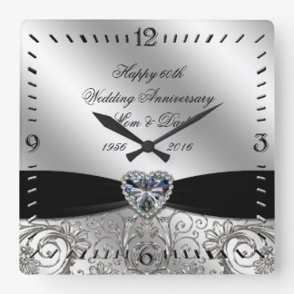 60th Diamond Wedding Anniversary Square Wall Clock