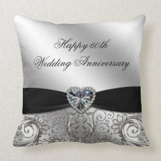 60th Diamond Wedding Anniversary Throw Pillow
