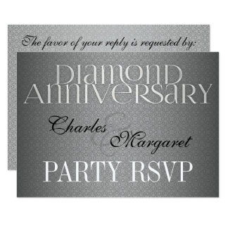 60th Diamond Wedding Annivsersary RSVP Card