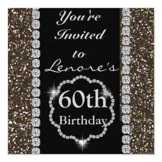 60th ELEGANT CRYSTAL Birthday Party Invitation