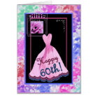 60th Fabulous Birthday with Pink Dress Card