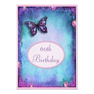 60th Faux Glitter, Butterfly, Roses & Lace Card