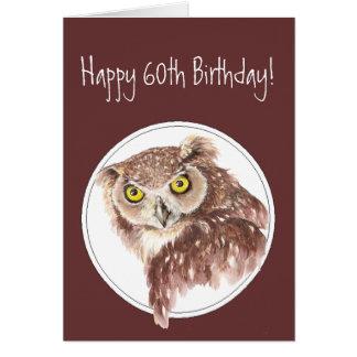60th Funny Birthday Owl with Attitude Bird Humor Greeting Card