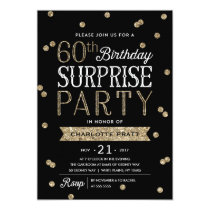 60th Glitter Confetti Surprise Party Invitation
