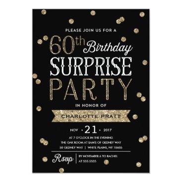 NBpaperco 60th Glitter Confetti Surprise Party Invitation