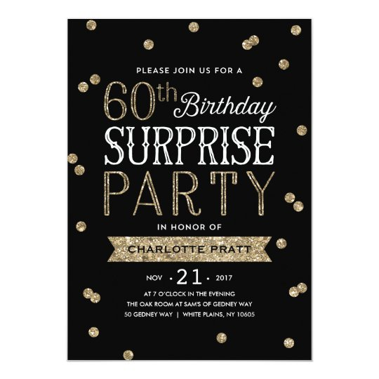60th Glitter Confetti Surprise Party Invitation Zazzlecom