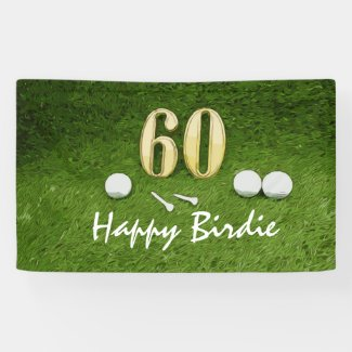 60th Golf birthday party with golf ball and tee Banner