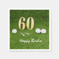 60th Golf birthday party with golf ball and tee Napkin